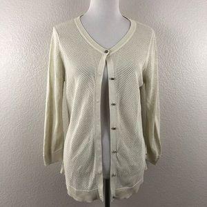 Coldwater Creek Silk Mesh Ivory Cardigan size XL